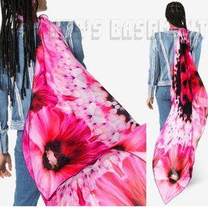 MCQUEEN pink petals PARADISE SKULL chiffon scarf